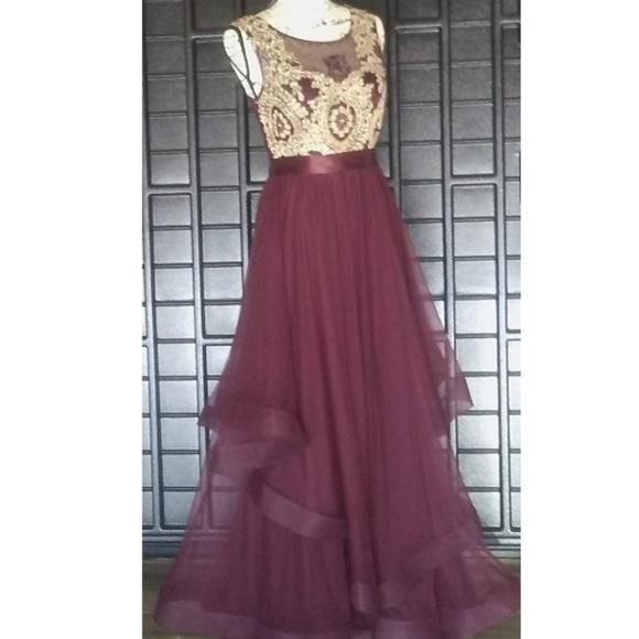 Dresses Juniors Long Burgundy Layered Formal Dress Poshmark